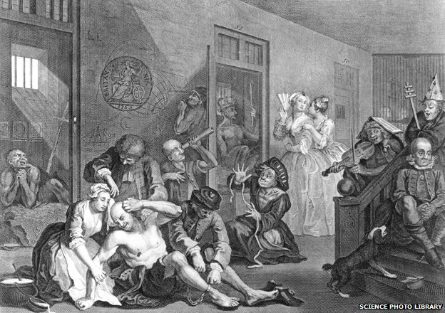 "Words created ""Bedlam"" as depicted by Hogarth."