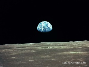 The earth seen from the moon.